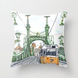 Budapest Hungary Liberty Bridge Painting Throw Pillow