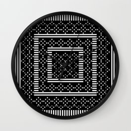 Black White Stars On Lines Wall Clock
