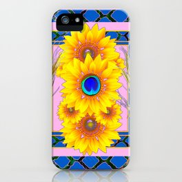 PINK-BLUE PEACOCK SUNFLOWERS DECO JEWELED iPhone Case