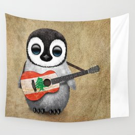 Baby Penguin Playing Lebanese Flag Acoustic Guitar Wall Tapestry