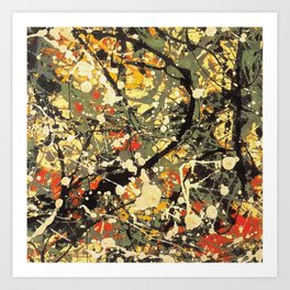 Jackson Pollock, digitally vectorised and filtered, fine art decor and clothing Art Print