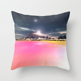 The Pink Seas of Planet Cany Throw Pillow