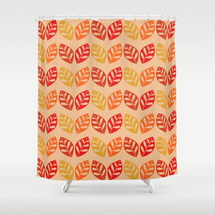 Retro Leaves Pattern Burnt Orange Shower Curtain By