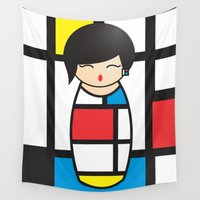 mondrian Wall Tapestries featuring Kokeshi Mondrian by Pendientera