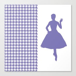Blue Modern Houndstooth w/ Fashion Silhouette Canvas Print