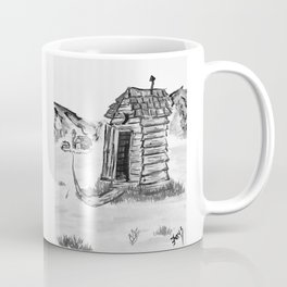 Outhouse, Primitive Art, Black & White Print of Painting by Faye Coffee Mug