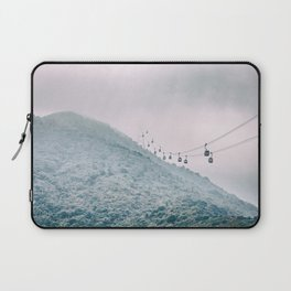 Cable car on a misty mountain high up Laptop Sleeve