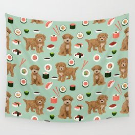 Bichpoo sushi dog breed cute pet portrait pet friendly pattern dog lover gifts Wall Tapestry