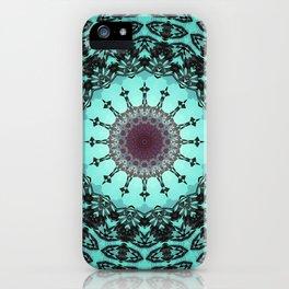 Bright Teal Black Bohemian Mandala iPhone Case