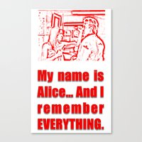 resident evil Canvas Prints featuring RESIDENT EVIL - ALICE REMEMBERS by Robin Stevens