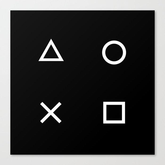 Gamer Pattern (White on Black) Canvas Print