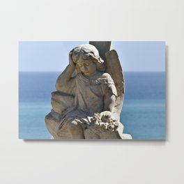 Italian Angel with Cross Metal Print
