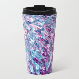 FROSTED FEATHERS 1 Colorful Lavender Purple Lilac Serenity Rose Quartz Ombre Ocean Splash Abstract Travel Mug