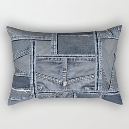 Blue Jeans Denim Patchwork Pattern Rectangular Pillow