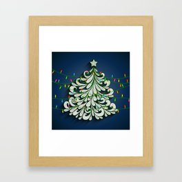 Christmas tree with colorful lights Framed Art Print