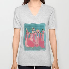 Pink flamingos Unisex V-Neck