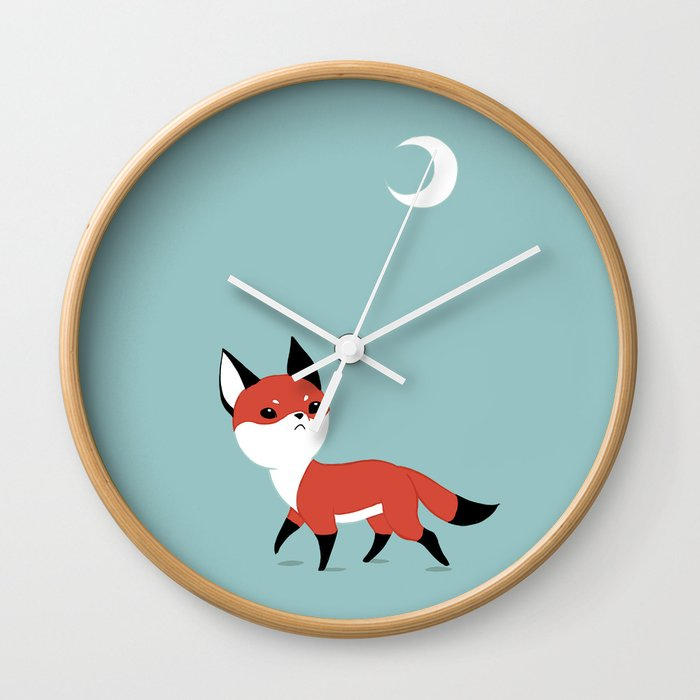 Moon Fox Wall Clock By Freeminds Society6