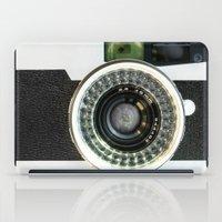 vintage camera iPad Cases featuring Vintage camera by cafelab