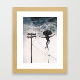 Girl On A Wire Framed Art Print