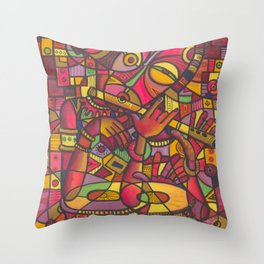 The Flutist V. Painting from Cameroon, Africa Throw Pillow