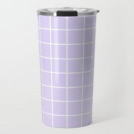 Lavender white minimalist grid pattern Travel Mug