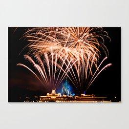 Castle Fireworks Canvas Print
