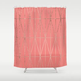 Modern geometric triangles faux rose gold coral pattern Shower Curtain