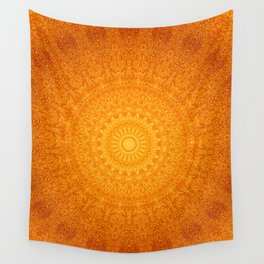 Orange Brown Happy Mandala Wall Tapestry