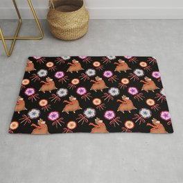 funny baby llamas, sweet vintage retro lollipop candy with ribbons. Cute nursery pattern design Rug