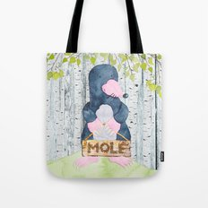 The busy Mole - Woodland Friends- Watercolor Illustration Tote Bag