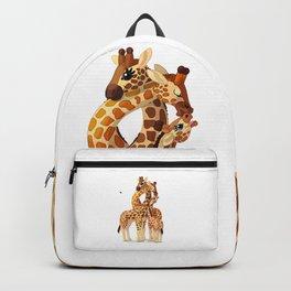 Cute giraffes loving family Backpack