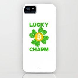 Lucky Charm Bitcoin Four Leaf Clover St Patricks Day iPhone Case