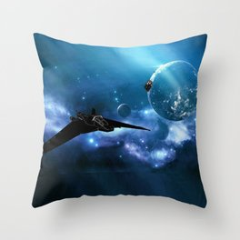 Ships in Space Throw Pillow