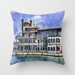 New Orleans Paddle Steamer Van Goth Throw Pillow