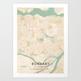 Burnaby, Canada - Vintage Map Art Print