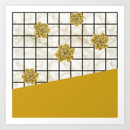 Succulents geometric composition - Yellow Lemon Curry Art Print