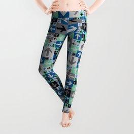 Arrow Pattern Blue Green Gray Leggings