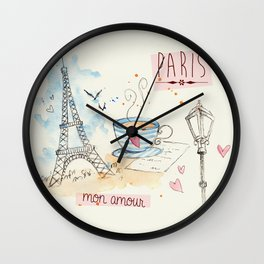 Paris Mon Amour Wall Clock