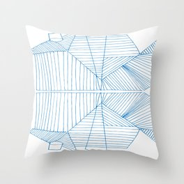 Architectural Blue Print Throw Pillow