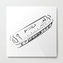 Harmonica. Musical instrument Metal Print
