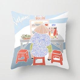 Vietnamese Street Food Illustration Throw Pillow