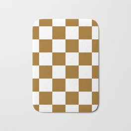 Large Checkered - White and Golden Brown Bath Mat