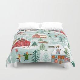 New England Christmas Duvet Cover