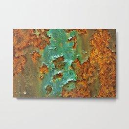 Rust and Deep Aqua Blue Abstract Metal Print