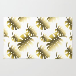 Modern gold color tropical cheese leaves pattern Rug