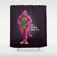 fitness Shower Curtains featuring Barney, Loves Fitness by PORATOY