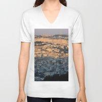 israel V-neck T-shirts featuring Jerusalem Living in Israel by Rachel J