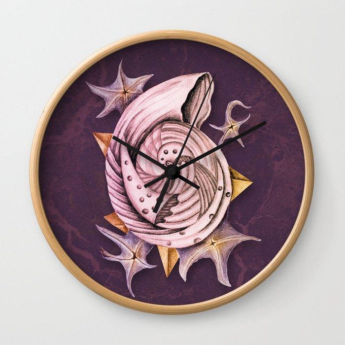 Dystopian Conch - Lavender Wall Clock