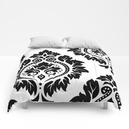 Decorative Damask Art I Black on White Comforters