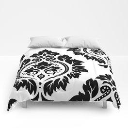 Decorative Damask Art I Black on White Comforters